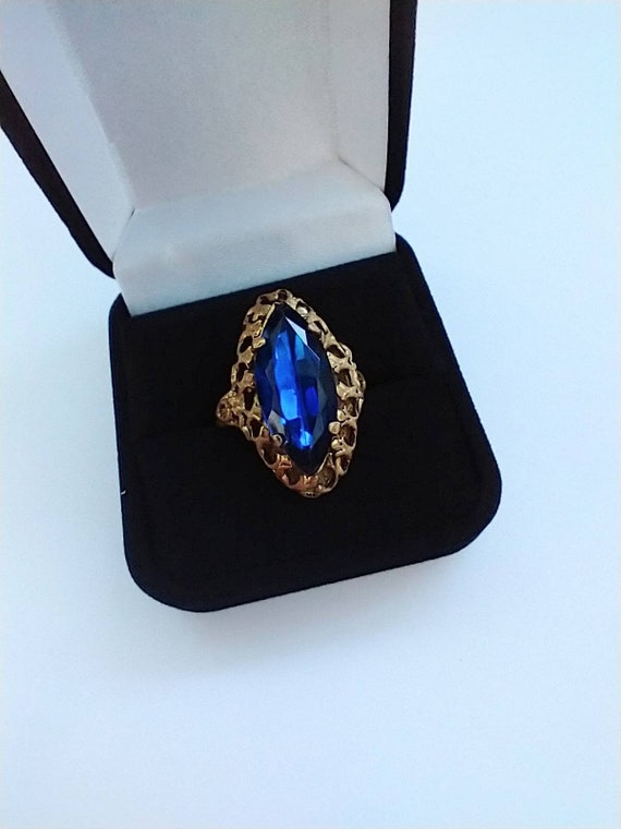 1960's Blue navette cocktail ring - image 2