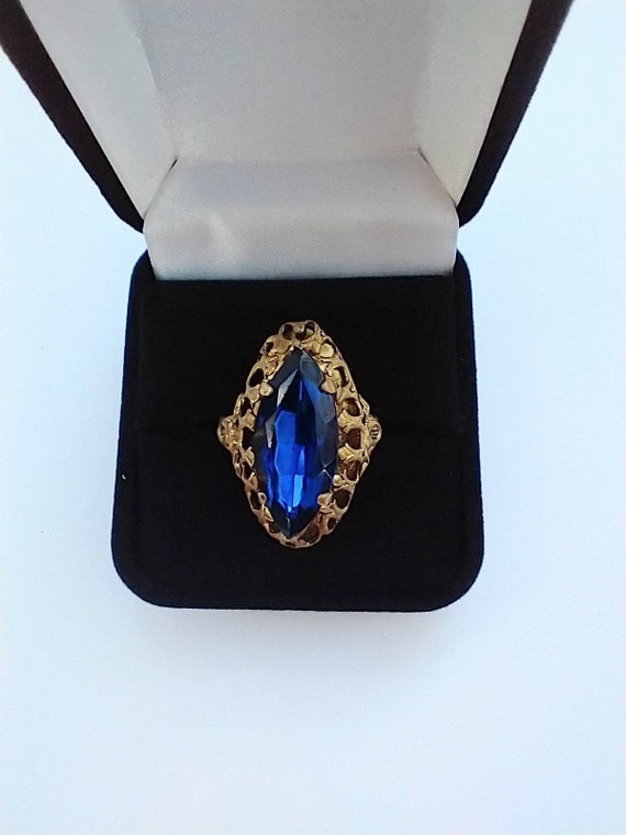 1960's Blue navette cocktail ring - image 8