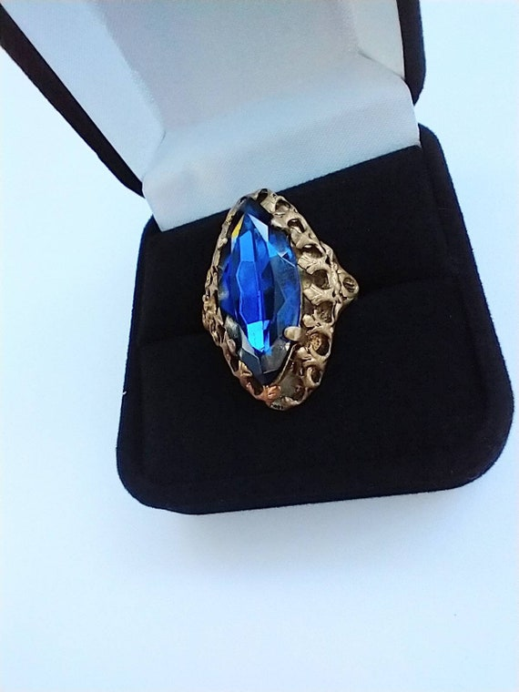 1960's Blue navette cocktail ring - image 4