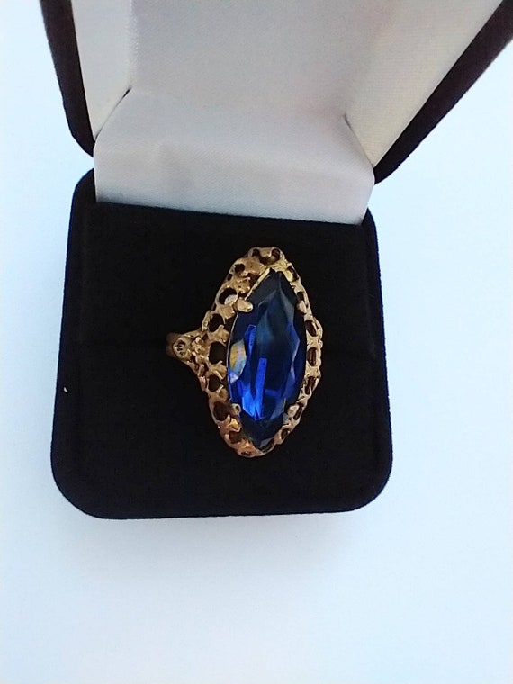 1960's Blue navette cocktail ring - image 1