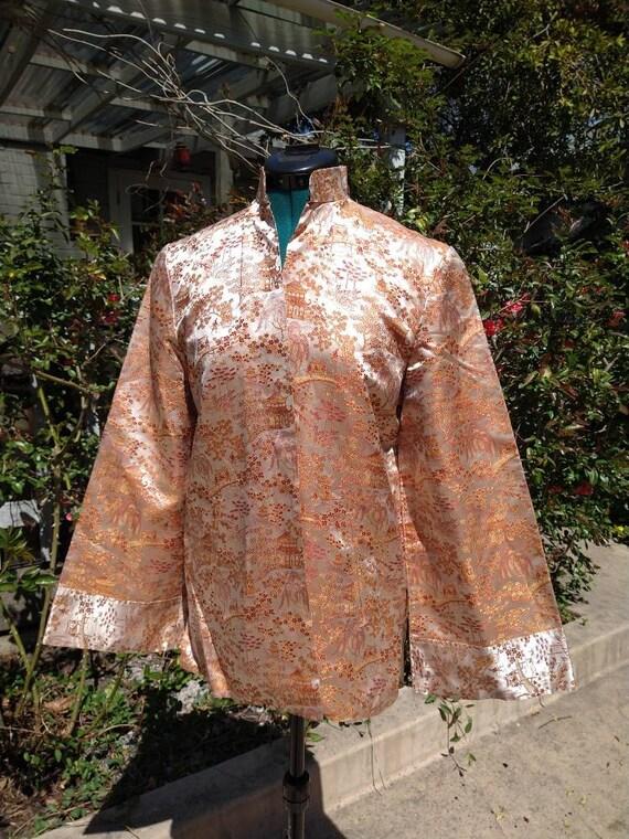 Vintage Chinese toile brocade silk coat - image 1