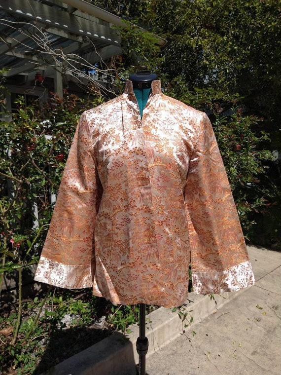Vintage Chinese toile brocade silk coat - image 4