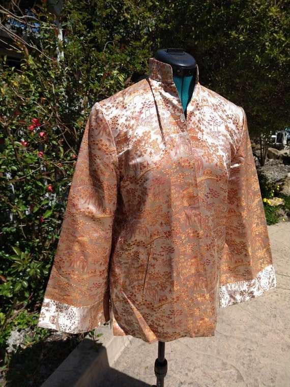 Vintage Chinese toile brocade silk coat - image 5