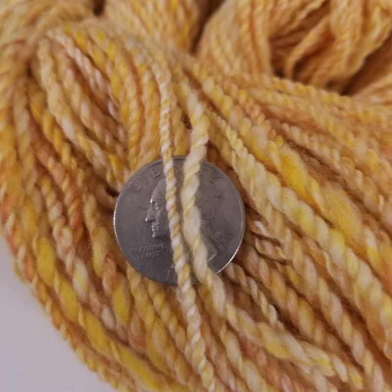 Hand Painted aran Weight Yarn in BUTTERED POPCORN