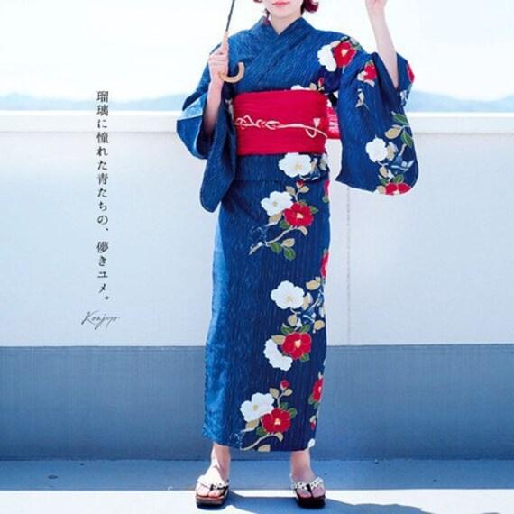 Japan Yukata Kimono - Without Obi- Summer Blue Free Size Elegant and Cute Stylish Japanese Yukata Japanese Kimono Designed in Japan