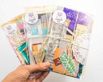30 pc Paper Scrap Pack   Junk Journal Kit, Scraps Destash, Collage Kit, Inspiration Bundle, Art Journaling, Grab Bag, Mixed Media, Book Page