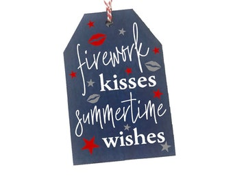 Firework kisses and Fourth of July wishes red white and blue t-Shirt matching cheer bow