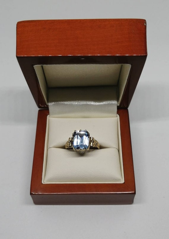 Antique 9ct Gold Emerald-Cut Spinel Ring UK Size O