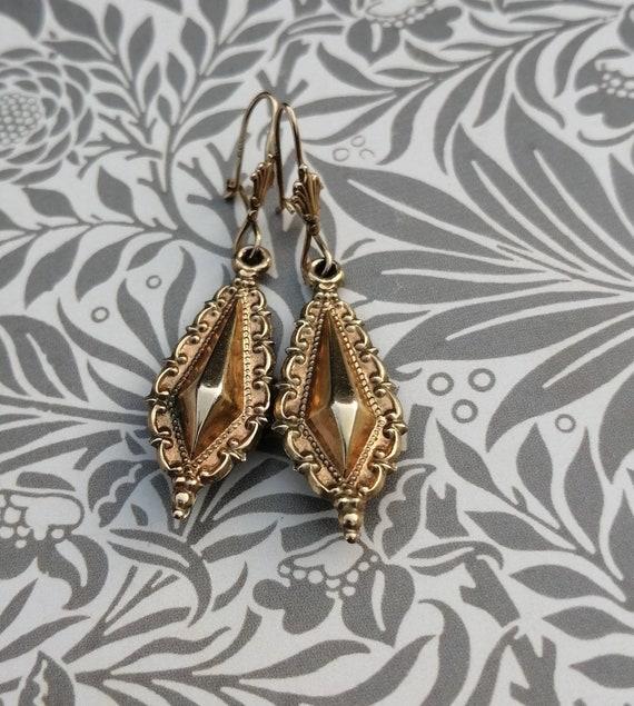 Victorian Style 9ct Gold Drop Lozenge Earrings