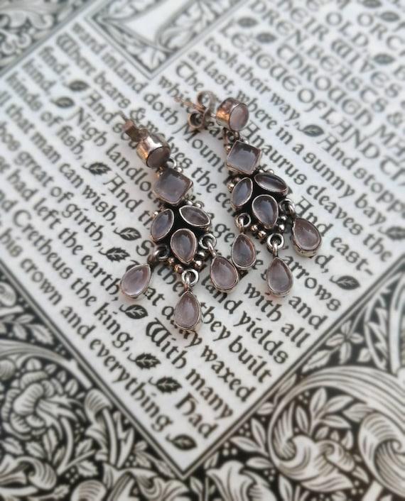 Vintage Silver Moonstone Chandelier Earrings