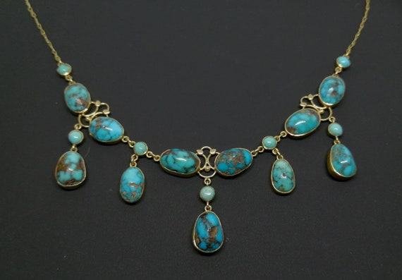 Victorian 15ct Gold Natural Turquoise Festoon Neck