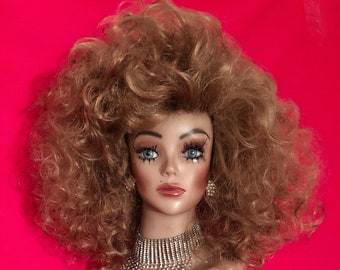 LIKE A VIRGIN WIG Lace Front Drag Queen Wig Madonna 1980s Big Hair Strawberry Blonde Rocker Brown Auburn White Pinup Retro Costume Party