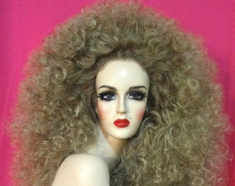 BEYONCE WIG Lace Front Drag Queen Wig Honey Dark Ash Blonde Big Hair Long Curly Brown Blonde  Auburn White Pinup Retro Vintage Costume Party