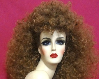WHITNEY HOUSTON WIG Lace Front Drag Queen Wig Big 1980s Curly Hair Mullet Updo Honey Blonde Brown Auburn White Pinup Retro Costume Party