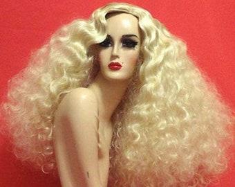 FINGER WAVE WIG Lace Front Drag Queen Wig Platinum Blonde 1920s Flapper 1970s Long Wavy Black Brown Auburn White Pinup Retro Disco Costume