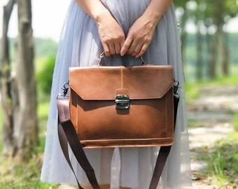 Brown Leather tote Bag,Crossbody tote gift,Leather Laptop tote,Leather Satchel tote Bag,Macbook Leather tote,Leather Diaper Bag,Girl gift