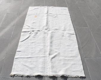 Striped Rug 95 x 350 cm Organic Rug Kilim Rug Hemp Rug 3.1 x 11.5 ft Runner Rug Old  114 Antibacterial Rug White Rug Turkish Rug