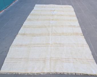 1.5x8.8 ft Kilim,Handmade,Overdyed,Organic,Herki Rug,Long Rug,White Striped Rug,Hallway Oversize Rug,Corridor Rug 1287 Turkish Rug,Hemp Rug