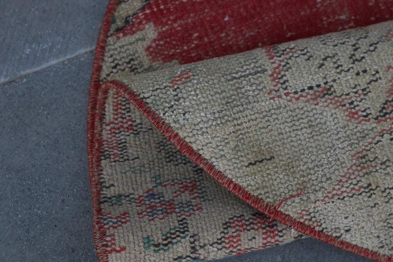 Turkish Small Rug 3x3 ft Circle Rug Handmade Rug Antique Rug Vintage Rug,Oushak Rug,Round Rug Circle Rug,Oriental Rug 2602 Muted Rug
