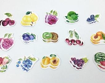 Mixed Fruit, 30 pcs Sticker Set, Scrapbooking Stickers, Diy Crafts