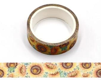 Sunflowers, Washi Tape, Scrapbooking Tape, 5m Full Roll Washi Tape