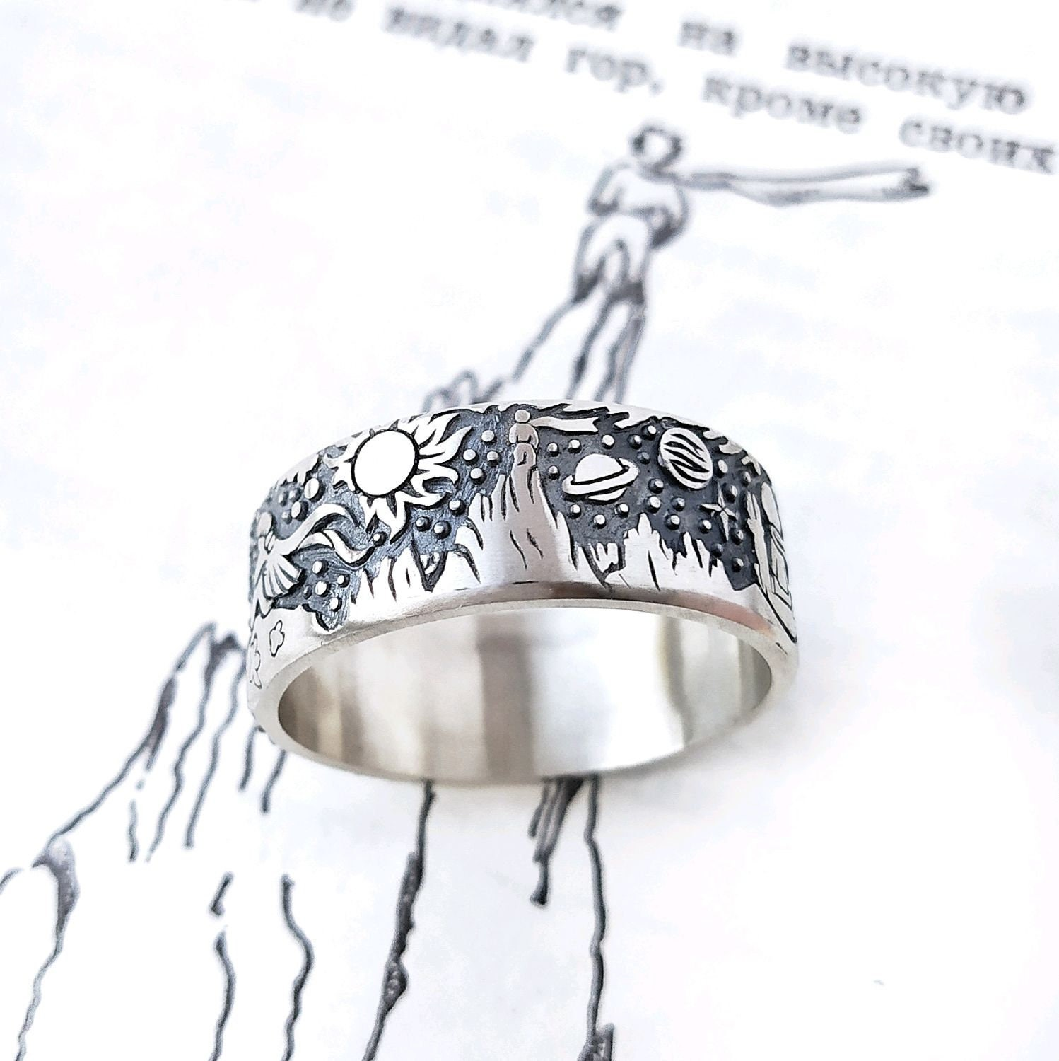 The Little Prince Ring, Man ring, Wide ring, Silver Ring, The Little Prince, Antoine de Saint-Exupéry, Exupery
