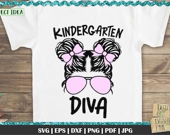 Kindergarten Diva, Back to school SVG, First Day of School, Kindergarten, Cool Diva svg, School svg, Kindergarten Girl, Girl sunglasses