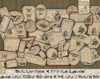 Butterflies, Prints, Text, Numbers, Music, Vintage, Labels, Script, Printable, Junk Journal, Words, Letters, Tags, Embellishment, Scrapbook