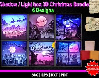 Christmas Bundle - 3D Shadow box templates, 3D Light Box, Santa Claus svg, Xmas svg, Reindeer svg, Snowman svg, Santa's reindeer, Christmas