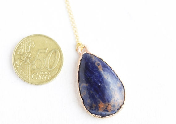 Sodalite pendant Natural stone in golden copper - Nature-inspired jewelry