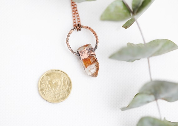 Pointe Quartz rutile necklace in patinated copper // Boho jewel