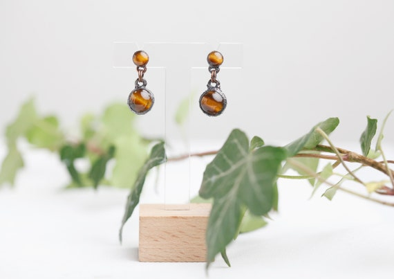 Earbuds Tiger Eye in Patinated Copper // Tiger Eye Jewelry