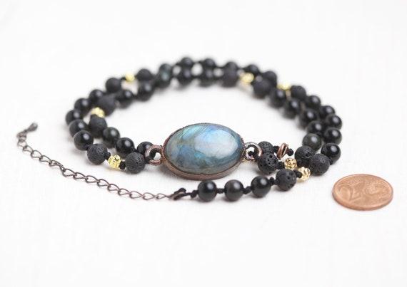 Labradorite bracelet - Labradorite multi-rank bracelet / natural stone bracelet