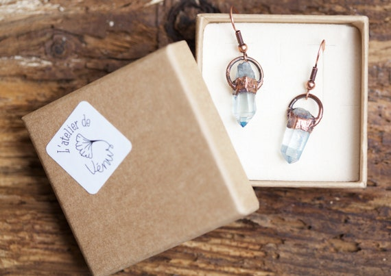 Aqua Aura copper crystal earrings -
