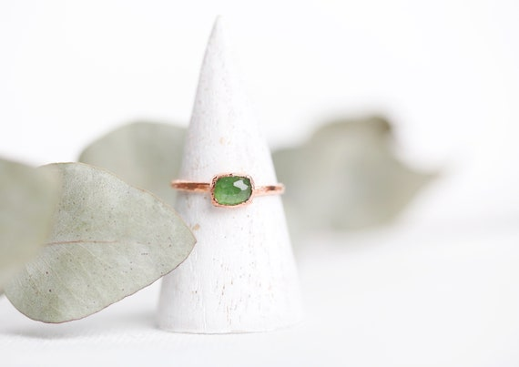 Green tourmaline ring in raw copper - Size FR 52 1/2 - Jewelry inspired by nature & boho