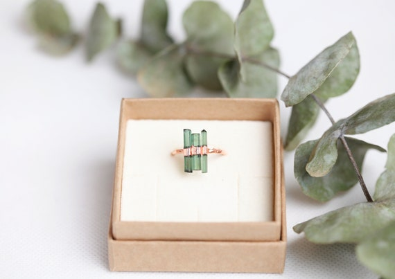 Natural Crystal Crystal Ring of Green Tourmaline in Raw Copper //On Order // Boho Jewelry