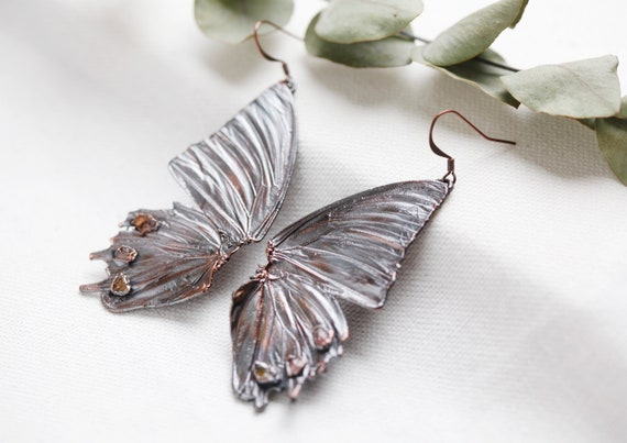 Butterfly wing earrings in patinated copper & Tourmaline crystals- Nature and boho inspiration