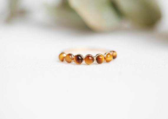 Golden Copper Tiger Eye Ring // Natural Stone Jewelry