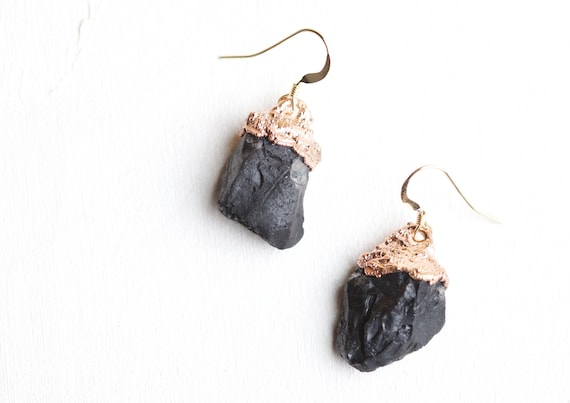Raw Black Spinelle Earrings - Vegetable and Mineral Inspiration Jewel- electroformed