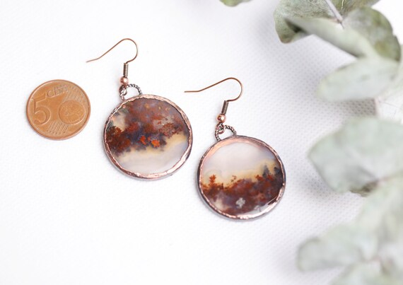 Agate patinated copper foam earrings / Natural stone jewelry // Unique jewel