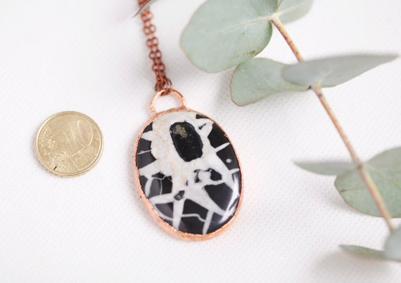 Septaria necklace of Morocco in raw copper - Natural stone septaria - Septaria morocco