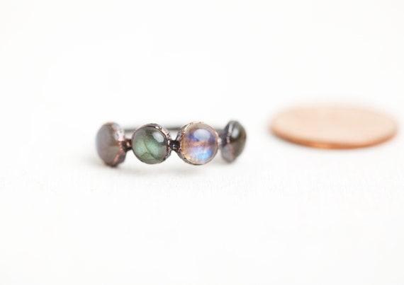 Copper ring and natural stones - Labradorite - Malachite -