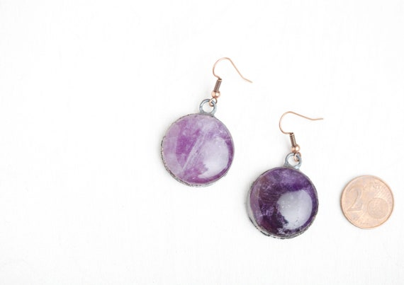 Copper Amethyst Earrings - Amethyst // Natural Stone Jewelry