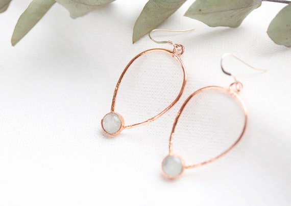 Earrings Rainbow moonstone in raw copper - jewelry natural stones - nature inspiration & boho