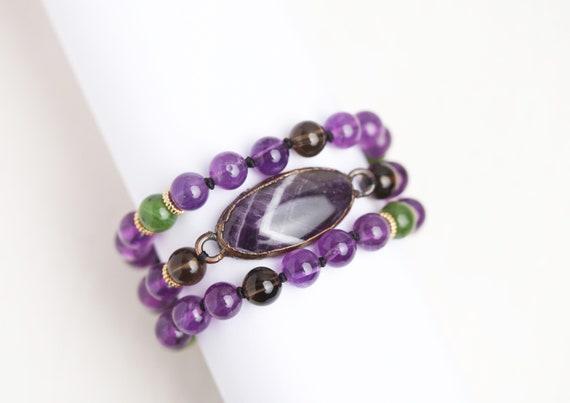 Multi-rank Amethyst bracelet - Natural stone bracelet / Amethyst Jewel