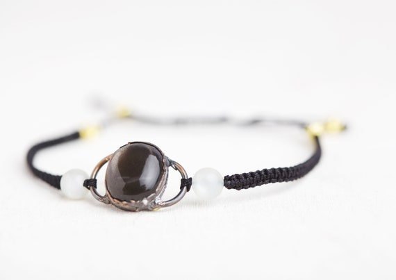 Sunstone bracelet - natural stone bracelet - natural stone / macramé