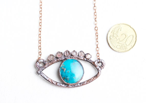 Turquoise Eye pendant and Tourmaline crystals - patinated copper - talisman jewel