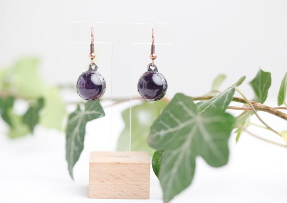 Amethyst earrings in patinated copper // Amethyst natural stone jewelry