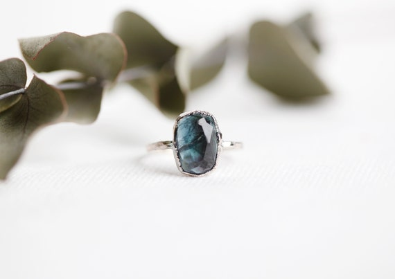 Blue tourmaline ring in silver copper - Size FR 56/ US 7 1/2 - Jewelry inspired by nature & bohemia