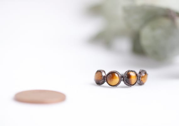 Copper Tiger Eye Ring // Size FR 54 // Natural Stone Jewelry Tiger Eye